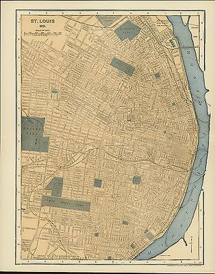 Vintage Street Map 1903 CITY OF ST. LOUIS, MO With Part of the Mississippi River