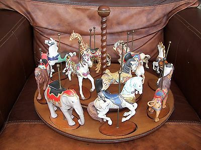 Franklin Mint The Treasury of Carousel Art Wooden bases with Porcelain Animals