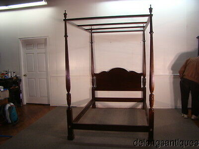 44431:Solid Mahogany Full-Size Poster Canopy Bed