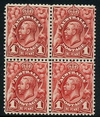 KGV Head Engraved 1d MUH **BLOCK OF 4 WITH ACSC VARIETY** *DARKER SHADE* SG 17