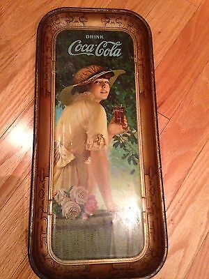 "1916 Coca-Cola Tin Litho Advertising Serving Tray ""elaine"" Large Oblong Tray"