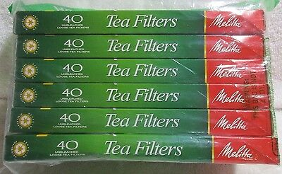 Melitta Tea Filters Lot Pack of 6 with 40 Filters Each Unbleached Loose Tea