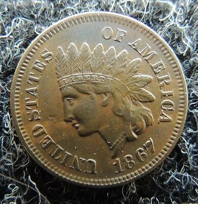 RARE    1867    Indian Cent     About  Uncirculated        Old Estate Coin