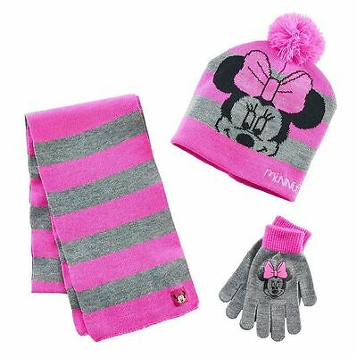 NWT Girls Disney Junior MINNIE MOUSE Pink & Gray Hat, Gloves & Scarf Set  OS