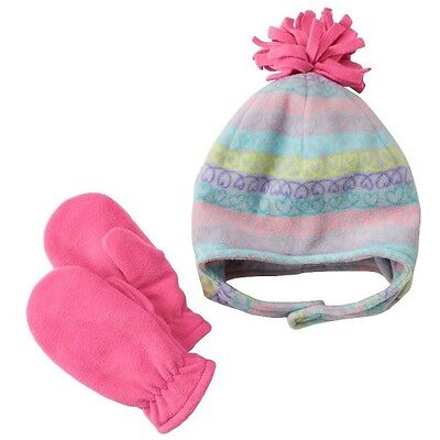 NEW Jumping Beans Fleece Hat & Mittens Set Baby Girls Sz: 6-18 MONTHS Infant