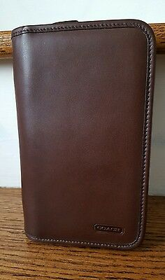 NEW Authentic Coach Brown Leather Zipper Palm Planner Agenda Organizer Case