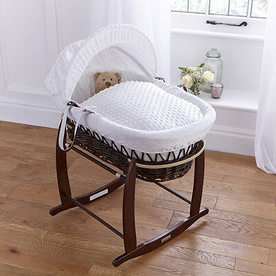 New Clair De Lune White Dimple Padded Dark Wicker Baby Moses Basket & Stand