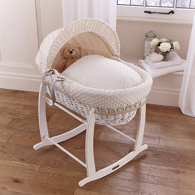 New Clair De Lune Cream Dimple Padded White Wicker Baby Moses Basket & Stand