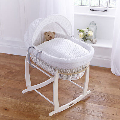 New Clair De Lune White Dimple Padded White Wicker Baby Moses Basket & Stand