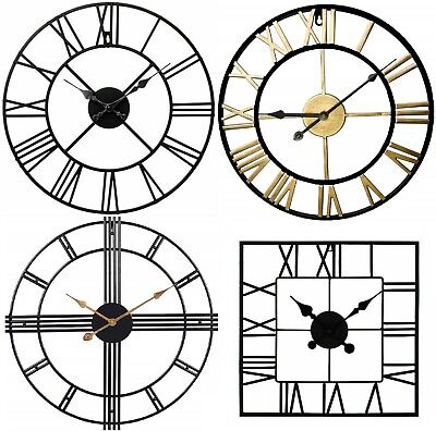 Large Metal Skeleton Roman Numeral Wall Clock Black Round & Square Shape 40/60cm