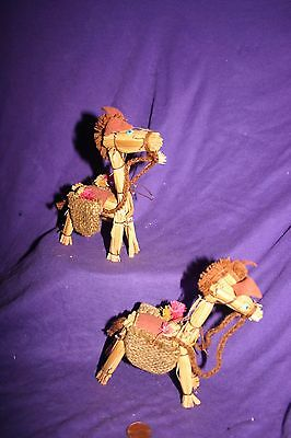 Pair of Vintage hand made straw horse donkey ornaments
