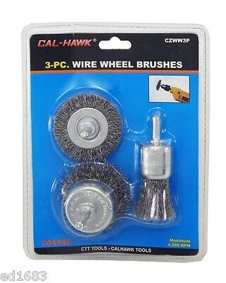3pc Wire Wheel Brush Set For Removing Paint, Rust, Scales, etc - Drill Accessory
