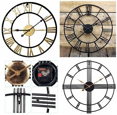 Large Outdoor Garden Wall Clock Big Roman Numerals Giant Open Face Metal 40,60Cm