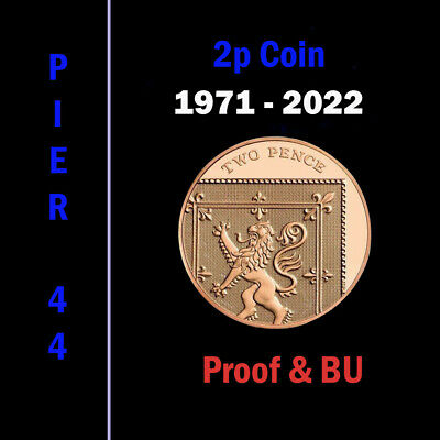 UK PROOF & BU Two Pence Coins 2p 1971 - 2019 Coin Hunt - Select your Year