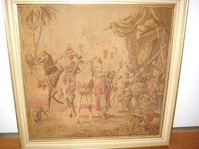 ANTIQUE TAPESTRY In Large Wooden Frame, Tapestry of an EGYPTIAN SCENE