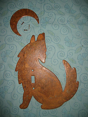 "Metal Sculpted WOLF Howling at Moon Switchplate Rusted Rustic Huge 10"" high"