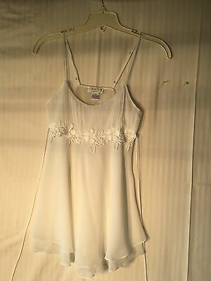 VINTAGE Flora Nikrooz babydoll,teddy,wedding nighty,white, Medium NWOT