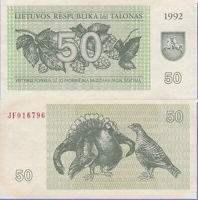 """Lithuania 50 Talonas Banknote 1992 About Uncirculated Condition Cat#41-""""Birds"""""""