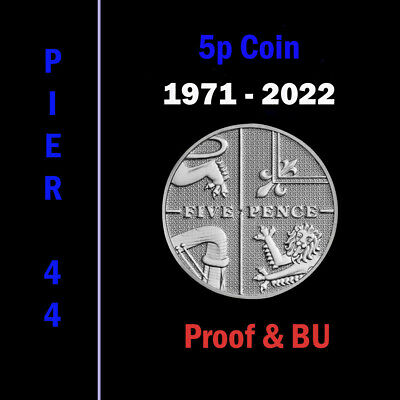 UK PROOF & BU Five Pence Coins 5p 1971 to 2017 Coin Hunt - Select your Year