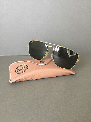 Vintage 1980's Genuine Ray Ban Bausch & Lomb Aviators Sunglasses Gold L0226