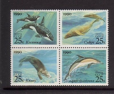 Russia 1990 Marine Mammals  Mint unhinged block 4 stamps with Dolphin.