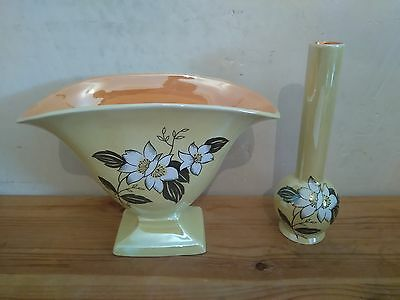 Burleigh Ware Window Vase and Bud Vase
