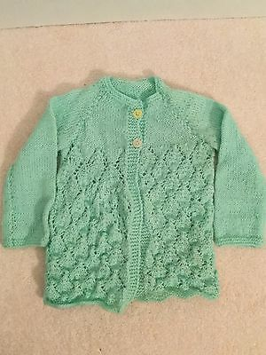 Hand Knitted Baby Girl Infant Button Up Cardigan Jacket Mint Green Size 00