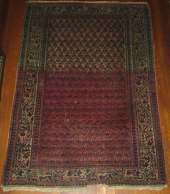 "Vintage Persian Hand Knotted Serabend Boteh Red Black Blue 60"" X 42"" Prayer Rug"