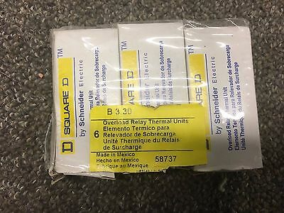 3 Nib Square D B3.30 Overload Relay Thermal Unit New In  Box (3Pack)