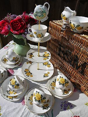 Vintage Royal Vale yellow roses mad hatter tea set  cake stand & 5 trio's