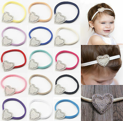 Baby Girls Crystal Gatsby Heart Soft Skinny Thin Elastic Headband Hair Band