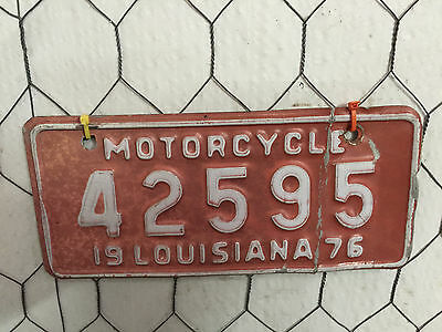 Antique 1976 Louisiana Motorcycle License Plate