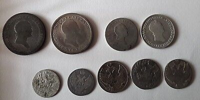 Lot of IMPERIAL POLAND UNDER RUSSIA silver & copper coins