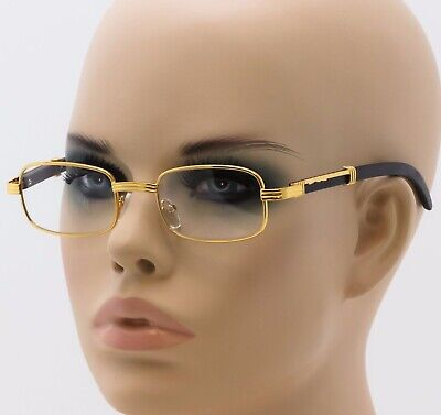 CLASSIC	VINTAGE RETRO Style Clear Lens EYE GLASSES Square Wood Buffs Gold Frame
