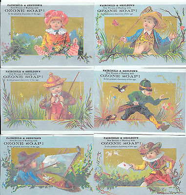 Lot (6) Victorian Trade Cards Ozone Soap Children Fishing Hunting Painting