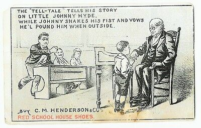 HENDERSON'S Red School House Shoes, TALL - TALE , Teacher & Boy Trade Card