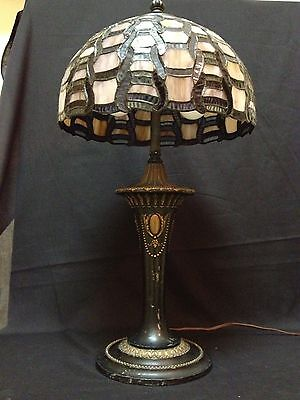 Antique Art Nouveau Table Lamp with Leaded Stained Glass Tiffany Style Shade