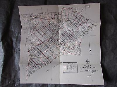 Vintage Ontario Canada Map County of Kent Roads 1959 Maker Engineer W.D.Colby