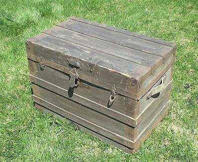 Vintage Wood Steamer Trunk Chest  Flat Top Table Storage Box Brown Western CT