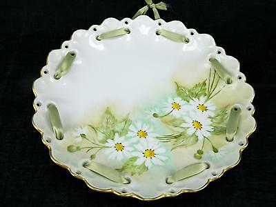 Vtg Porcelain Hand Painted Daisy Flower Floral Reticulated Collector Wall Plate