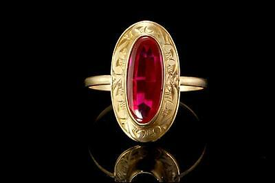 Antique Victorian Ruby Paste 10K Gold Ring (032517035)