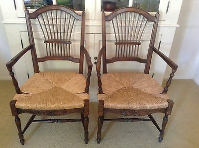 Vintage French Country Dining Arm Chairs Wheatback Rush Seat