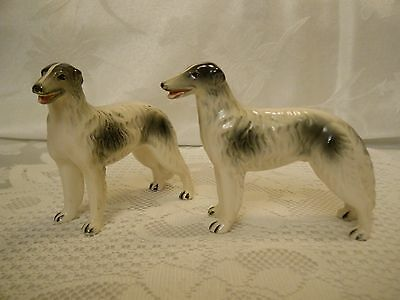 """Vintage Borzoi Russian Wolfhound Dog Figurines - Set of 2 - 3 1/2"""" Tall - Japan"""