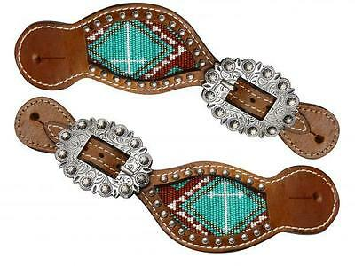 Showman Ladies Size TEAL/BROWN Beaded Cross Spur Straps! NEW HORSE TACK!