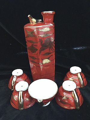 6 Pc Japanese Saki Set Whistlling Bird Kutani 9 Valleys Red Gold 1950