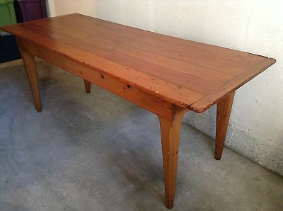Antique Vintage Farmhouse Harvest Table 1800s Pumpkin Pine finish Country Rustic