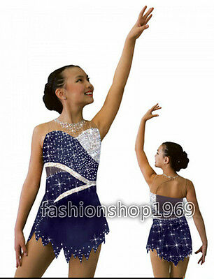 2016 New blue Ice Figure Skating Dress Baton Twirling Dress For Competition
