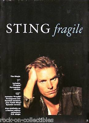 The Police Sting 1987 Nothing Like The Sun Fragile Original Poster