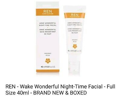 REN - Wake Wonderful Night-Time Facial - Full Size 40ml - BRAND NEW & BOXED