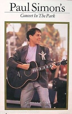 Paul Simon 1991 Concert In The Park Promo Poster